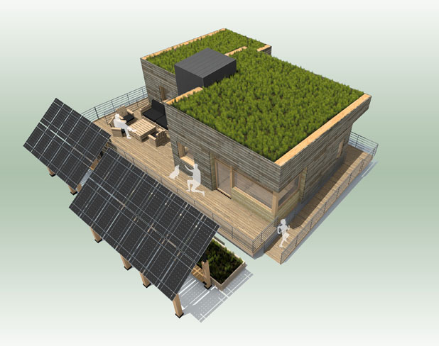 Modular homes from vermont in solar decathlon for Solar panel cost for 1000 sq ft home