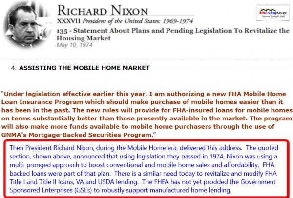 RichardNixon37thPresidentMay101974UsingFHALoansToSellMoreMobileHomesManufacturedHomeLivingNews