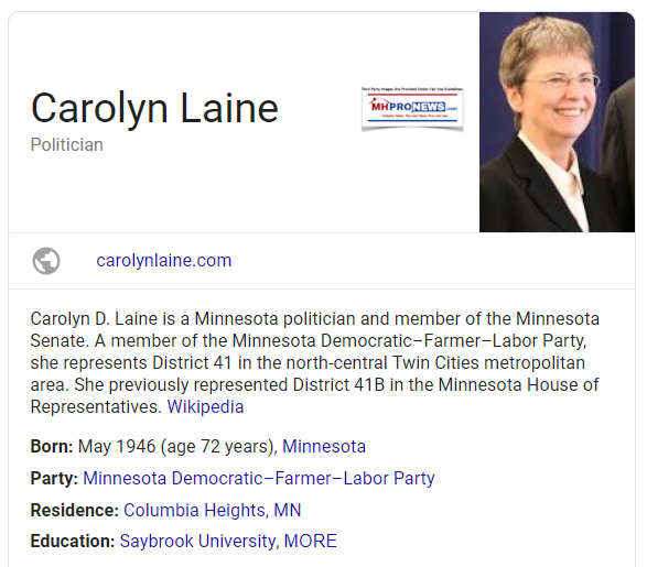 CarolynLaineDemocraticLawmakerMNManufacturedHomeliivngNews