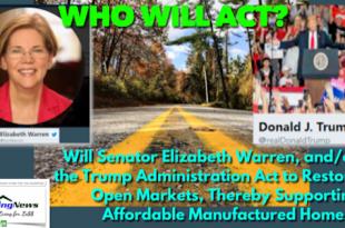 SenatorElizabethWarrenPOTUSDonaldJTrumpAdminAntitrustOpenMarketsSupportAffordableManufacturedHomes