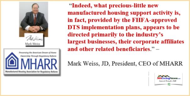 MarkWeissDTS-FHFA-DutyToServe-MHARR-ManufacturedHousingAssociationRegulatoryReformLogo