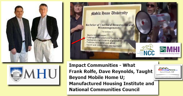 Impact Communities - What Frank Rolfe, Dave Reynolds, Taught Beyond Mobile Home U; Manufactured Housing Institute and National Communities Council